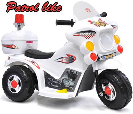 子供用電動乗用バイク 白バイサイレンを鳴らしたりヘッドライトが点灯します前進・後退簡単切り替えスイッチホワイト ブラック おもちゃ 電動バイク乗用玩具 警告灯パトライト充電して繰り返し乗れるポリスバイクお子様のプレゼントに最適!