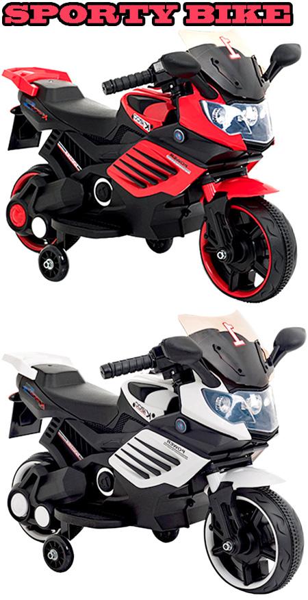 充電バッテリーで動く子供用電動乗用バイク簡単アクセルペダル駆動安心キッズ乗用玩具 2輪+補助輪エンジン&ヘッドライト点灯カウル付き二輪電動モーターバイクブラック×ホワイト ブラック×レッドおもちゃ KID'S MORTOR BIKE