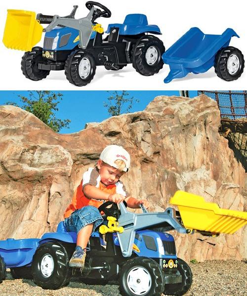 ドイツ製おもちゃ 子供用玩具 ペダルカーブルー×イエローバケットロリートイズニューホーランド牽引車付きダンプトラクターキッズトラック人気のロリーキッズシリーズペダル式で自転車の練習にも使えますトラックローダー×ワゴンセット