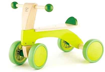 キックゴースクート ボールハンドルエンドかわいいくておしゃれな珍しい四輪車ライムグリーン×ナチュラルベーシックトライク乗用玩具 4輪車 木製座面×ラバーホイールDESIGN BASIC SCOOTTRICYCLE