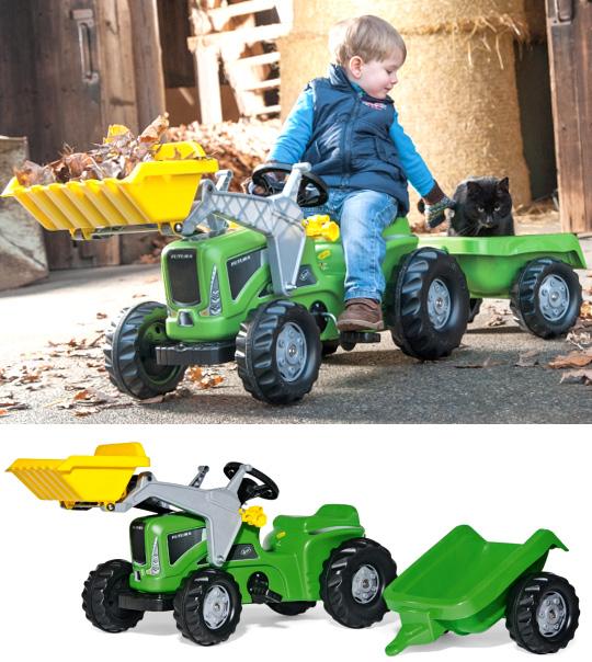 ドイツ製おもちゃ 子供用玩具 ペダルカーグリーン×イエローバケットロリーキディロリートイズフツタ牽引車付きダンプトラクターキッズトラック人気のロリーキッズシリーズペダル式で自転車の練習にも使えますトラックローダー×ワゴンセット