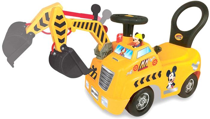 ミッキーマウスのお人形がしゃべる&演奏レバー操作が面白いショベルカー足蹴り乗用玩具 オレンジイエロー後ろから押してあげる時に便利な手押し背もたれ付き子供用重機カー足こぎ車 働く車のおもちゃ サウンド音機能付きシャベルカー