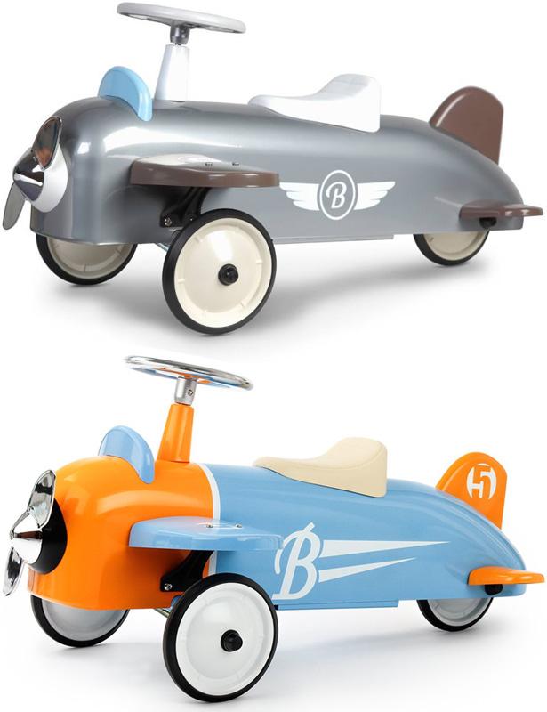 飾ってよし乗って良し プロペラ飛行機ブリキチックなデザインシルバー ライトブルー×オレンジAIR PLANE RIDEONメタル ライドオン エアプレーンスチール製ペダルカー&ライドオン子供用3輪車[乗り物・乗用玩具]クラシックエアプレーン