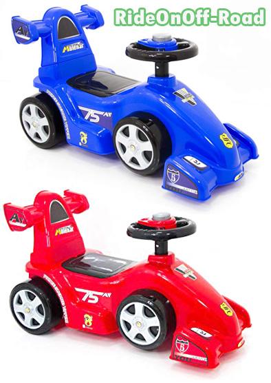 地面を蹴って走る足蹴り乗用玩具オンロードスポーツカースリッシュなボティーブルー レッド キックカーお子様へのプレゼントに最適ハンドル部にはサウンド搭載ライドオン エフワン
