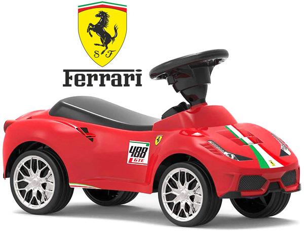 スポーツカー レッドフェラーリリアルにこだわるならこの1台地面を蹴って前に進むイタリアンセンターラインエンブレムエアークラクション機能付きお子様へのプレゼントに最適足蹴り 足けり乗用玩具 足こぎ ライドオン