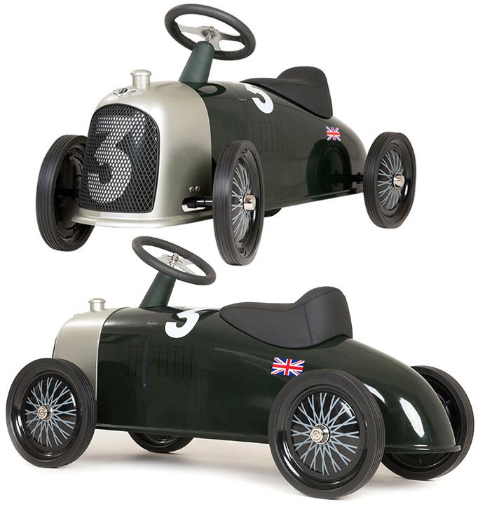 ラグジュアリー乗り物玩具 消防車お部屋で楽しめるキックカー地面をけって前に進む4輪車ライドオオレースカー クロームグリルライドオンメタルライダー子供用乗用玩具 Sport 3.0 Litre#3ダークグリーン×シルバークラシックスタイルキッズカー