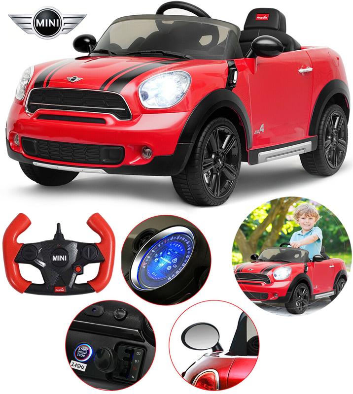 車の運転を小さな時に経験は大切遠隔ラジコン操作も可能ペダルを踏むだけ進むウインカー&ヘッドライトが点灯ミニクーパー 電動乗用ラジカンカーレッド×ブラックラインラジコン乗用玩具 おもちゃお子様へのプレゼントに