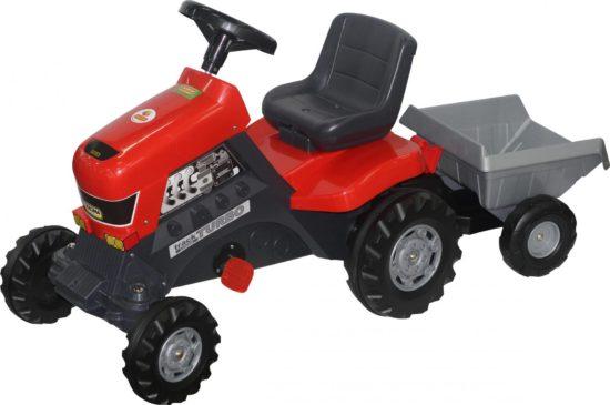 ライドオンペダルカートラクターお子様自身でペダルをこいで進む乗用玩具ブラック×レッドターボトレーラー付きペダルトラクター取り外し可能トレーラー大人の人でも乗れる頑丈さ誕生日プレゼントやお孫さんへの贈り物に大人気