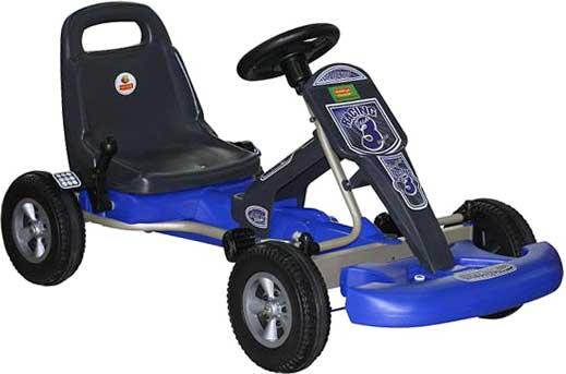 ペダルをこぐだけで前進するオフロードペダルバギーカー大人の方が乗れるほど頑丈にできており、細部も非常に本格的に仕上がりブラック×ブルー ペダルカー 乗用玩具実際のハンドルを持ってマリオカートの練習にプレゼントやお孫さんへの贈り物に大人気