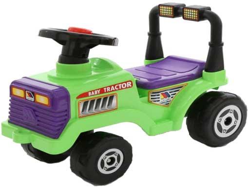 トラクター乗用玩具 4輪農耕車地面を蹴って進むおもちゃ背もたれ付きグリーン×パープルハンドルにはクラクション付き誕生日プレゼントやお孫さんへの贈り物に大人気捕まり立ち車 ライドオンキックカー