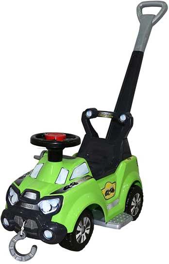 4輪車の定番スタイル 地面を蹴って進む四輪車後ろから押してあげれるプッシュバー付きグリーン×ブラックウインチフックチャーム付き乗用玩具4×4カー ハンドル付き誕生日プレゼントやお孫さんへの贈り物に大人気成長に合わせて取り外し可能足置き