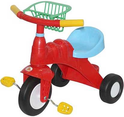 カラフルシンプル三輪車レッド×ライトブルー×グリーン×イエローバスケット付きトライク誕生日プレゼントやお孫さんへの贈り物に大人気ペダルをこいで進む3輪車