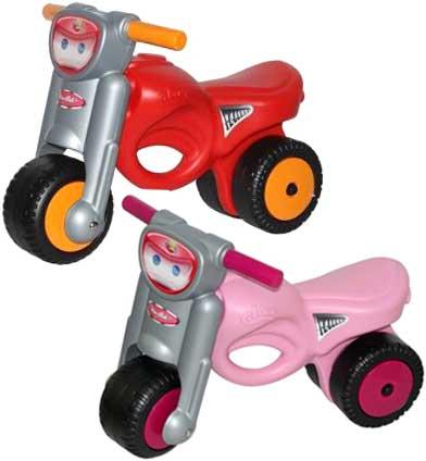 ワイドタイヤビッグバイクモーターバイクスタイル乗用玩具ベラルーシ製ライドオン2輪バイク安定するワ幅広タイヤ仕様レッド ピンクお子様へのプレゼントに最適足蹴りキックバイク 足けりおもちゃ