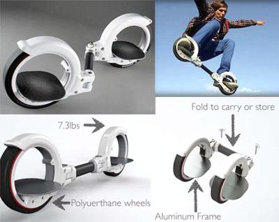 格好良さを追及する! ダブルリングスケータースケートボード・スノーボード・インラインスケートのミックス手軽にスケボーやサーフィンの感覚を楽しむコンパクトに詰め込み Wリングライダー左右の足を輪の中に片足づつ乗せるだけホワイト ブラック
