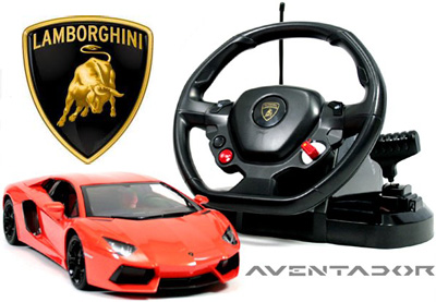 リアル感抜群!ハンドル操作で車を操るランボルギーニ アヴェンタドールイタリアスーパーカー ラジコン ホワイト オレンジレッドランボルギーニインテリアとしても最高な素晴らしい仕様正規ライセンス公認R/C LAMBORGHINI AVENTADOR 1/14