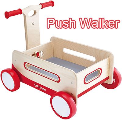 とにかく可愛い!ウッドベビーウォーカーナチュルウッド×レッド×ホワイト赤ちゃんの玩具ボックスにベビーワゴンウォーカー[乗り物玩具]子供用手押し車 カタカタおもちゃを運ぶ時や収納ボックスとしても便利WOOD BABY WALKER