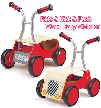 ウッドベビーウォーカー押し乗っても良しナチュルウッド×レッド赤ちゃんの玩具 キックカー&ベビーウォーカー 乗用物玩具子供用手押し車 カタカタおもちゃを運ぶ時や収納ボックスとしても便利
