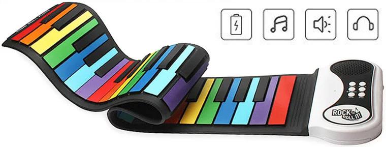 お子様のプレゼントに初心者にはコレ!届いたら直ぐ弾けるセット最初から高価な楽器は手が届かないとゆう方にご近所への騒音も気にならない静かなヘッドフォンで演奏を聴ける自宅で思う存分練習ができますブラック×カラフルキーボード ピアノの練習に