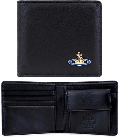 Vivienne Westwood WALLETヴィヴィアンウエストウッド 小銭入れ付き2つ折り財布オーヴプレートナッパスムースレザーNAPPA NERO ブラックさいふ サイフ ウォレット