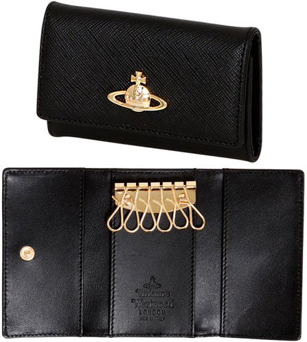 Vivienne Westwoodヴィヴィアンウエストウッドポケット付き6連キーケースゴールドオーブロゴプレートサフィアノカーフレザー ブラックキーホルダースナップボタン オーヴカーフレザー