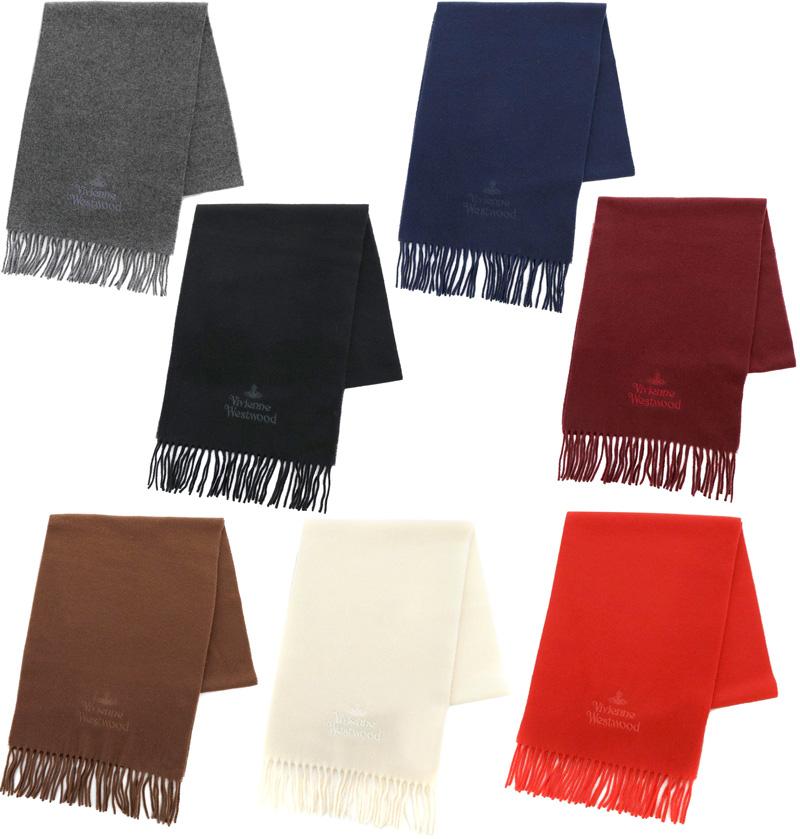 Vivienne Westwoodヴィヴィアンウエストウッドフリンジ付きマフラー 刺繍ロゴスカーフ ホワイト キャメルブラウン レッドネイビーブルー ボルドー ブラック グレー寒い日の首元にちょっとした暖かさをMUFFLER STALL SCARF