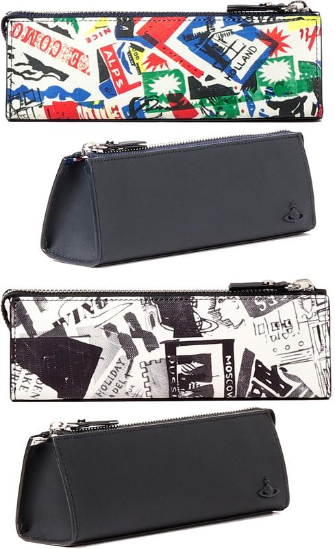 Vivienne Westwoodヴィヴィアンウエストウッドペンケース 筆箱トラベルタグデザインラック モノトーンネイビー マルチカラーポップブオーブロゴプレートトラベルプリント オーヴロゴ三角型筆記具入れ