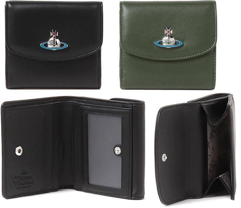 Vivienne Westwoodヴィヴィアンウエストウッド Wホック小銭入れ付き三つ折り財布ブラック オリーブグリーンエナメルオーブロゴ羊革 ダブルホック3つ折り財布パスケース付きコンパクトウォレットシルバーオーヴ