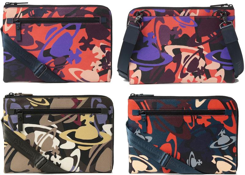 Vivienne Westwoodヴィヴィアンウエストウッド2WAYミニショルダーバッグフロントファスナーポケット付きミニポーチマルチカラーオーブロゴクレジッドカードホルダー迷彩柄ネイビー系 オレンジ系 オリーブカーキ系PVC牛革カモフラージュオーヴ