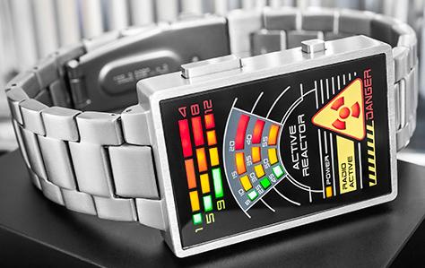 未来系LED腕時計 メンズウォッチスクエアブラックフェイスマルチカラーLEDシルバーステンレスベルト見せる機能 アニメーションプログラム搭載DENGER USB充電核施設コントロールパネル