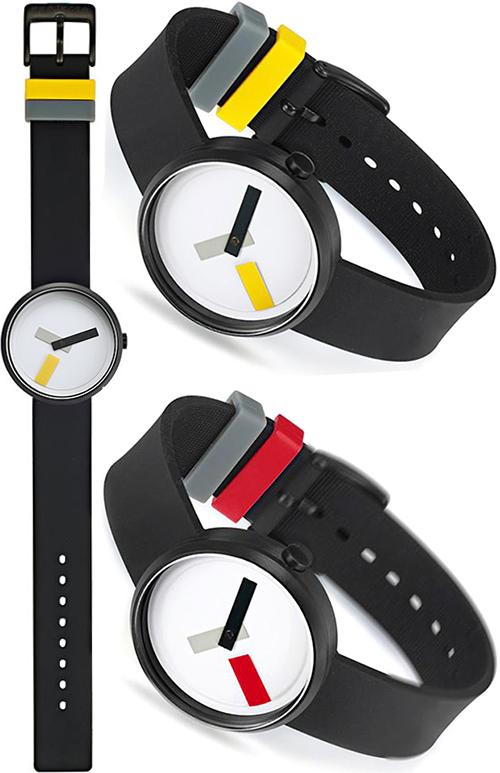 デザイナーズウォッチユニセックスデザイン腕時計レディース メンズ ユニセックアナログウォッチ ブラックシリコンラバーバンドイエロー レッド 秒針グレーカラー時針&ベルトループ