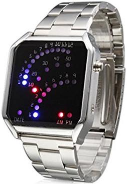 未来系LED腕時計 メンズウォッチ12個のLEDで時間を5個+9個のLEDで分をあらわす スクエアメタルフェイスシンプルながらエッジの利いたスクエアフォルム弧LED ブルーライト×レッドLEDシルバーステンレスバンド