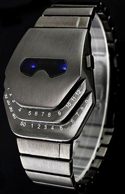 未来系LED腕時計ガンメタ 日付け表示メンズ レディース ユニセックスウォッチLEDトリプルリング 衛星の軌道3つのリングで時間を表示ガンメタシルバー ブルーLED
