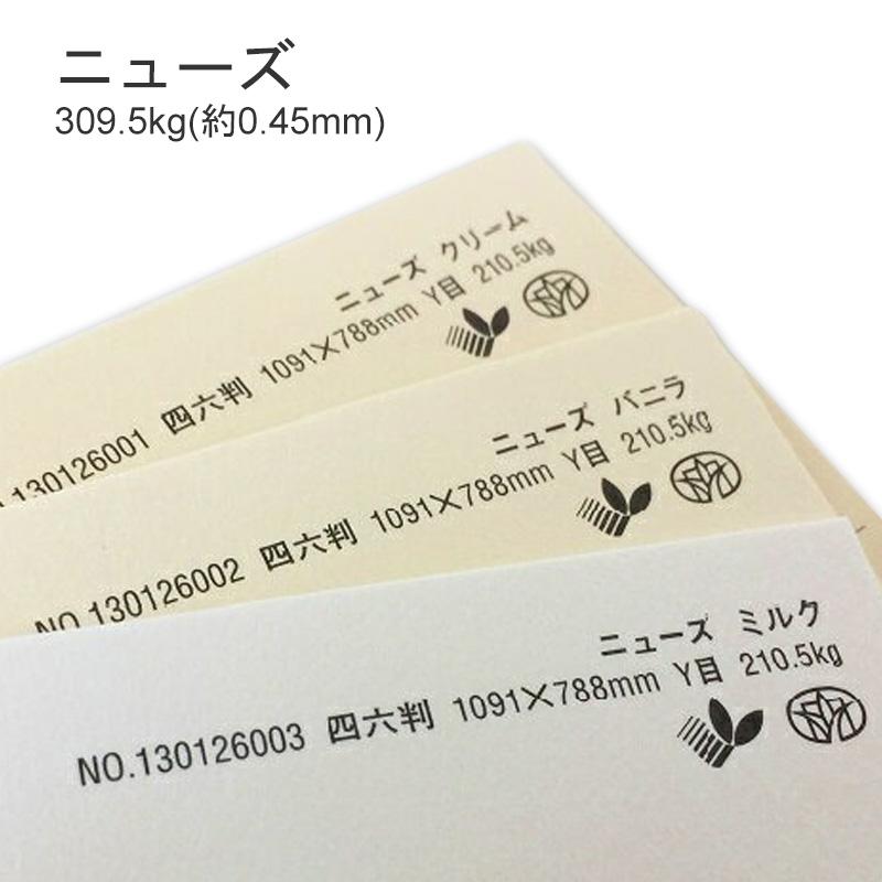 メーカー再生品 しっかりした厚み感と適度な硬さ がコンセプト 特殊紙 ニューズ 309.5kg 0.45mm 厚い紙 硬い紙 年中無休 ファンシーペーパー 厚紙 選べる3色