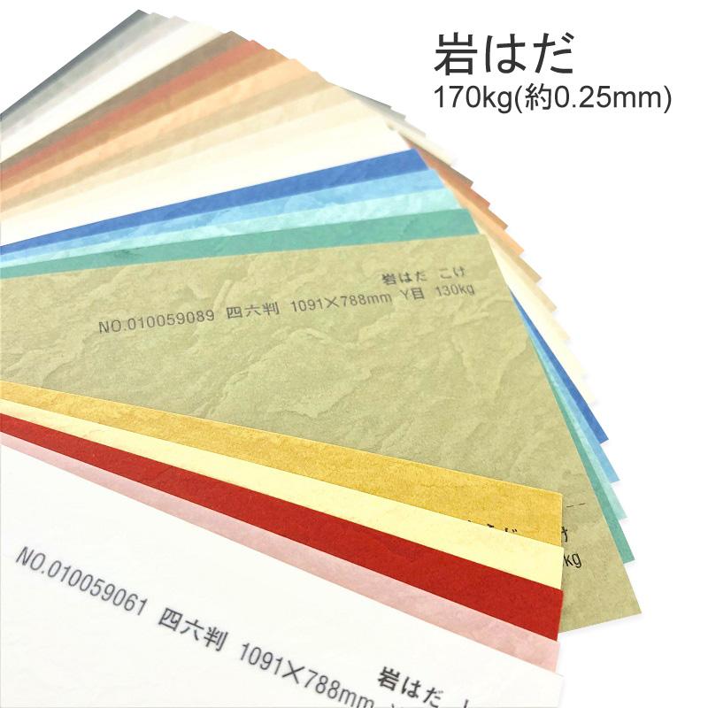 岩はだ 170kg A4 50枚岩を削った様な表面が特徴的 特殊紙 0.25mm 50枚 エンボス 選べる27色 印刷用紙 卓出 贈呈 型押し模様 凹凸 ファンシーペーパー