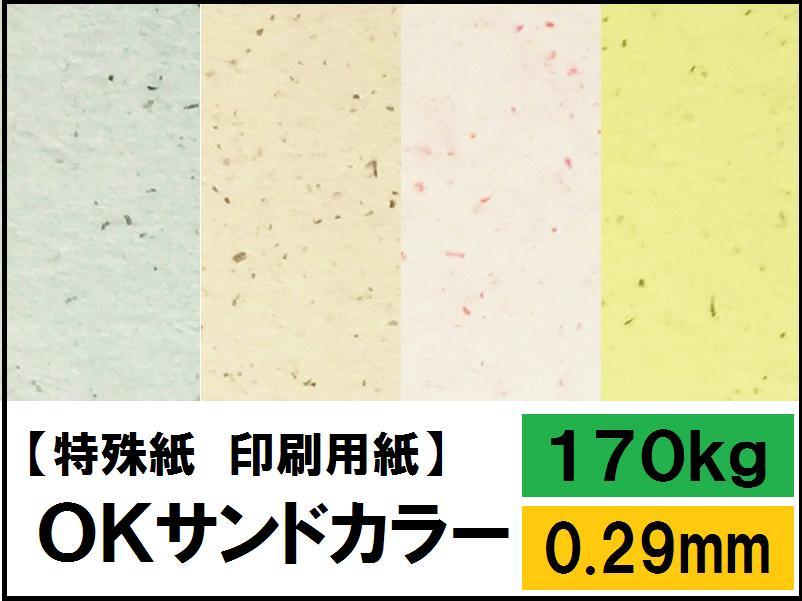 【特殊紙】OKサンドカラー 170kg(0.29mm) A3 100枚選べる11色【ファンシーペーパー 印刷用紙 ブレンド模様 平らな紙 砂目模様 押し花 台紙】