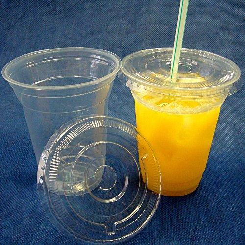 まとめ買いでお買い得! 【まとめ買い】蓋付き透明プラスチックカップ12オンス 2000セット(業務用使い捨て容器)【set】