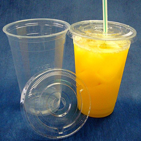 【まとめ買い】蓋付き透明プラスチックカップ17オンス 2000セット(業務用使い捨て容器)