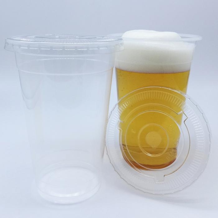 【SET:ケースC4-2・2ケースC4-3】蓋付き透明プラスチックカップ17オンス 2000セット 使い捨て容器 業務用まとめ買い