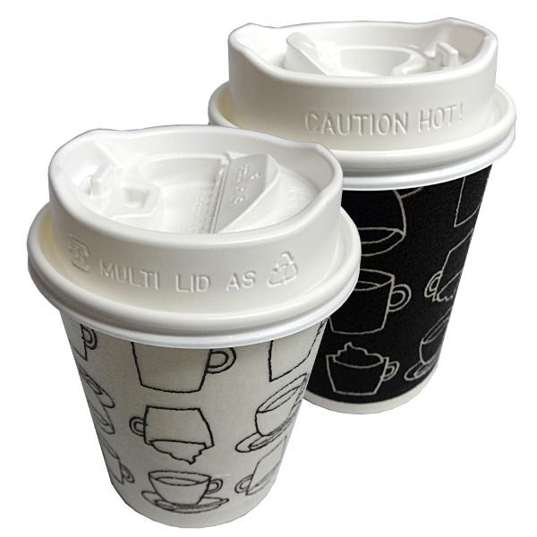 【箱買い】香る白ふた付き発泡耐熱紙コップセット「カフェモダンN」8オンス250ml(白/黒2色アソート)1000組 送料無料 冷暖対応蓋