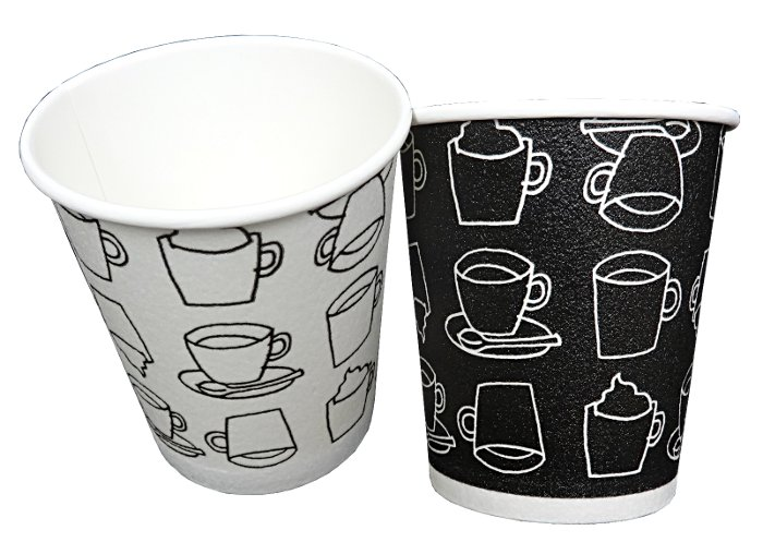 【箱買い】発泡耐熱紙コップ「カフェモダンN」 8オンス 250ml 2色アソート(白/黒) 計1000個/箱