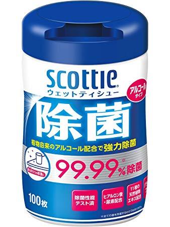 日本製紙クレシア スコッティ ウェットティシュ 除菌 アルコールタイプ ボトル 100枚 12本入り 送料無料