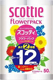 日本製紙クレシア スコッティ フラワーパック 2倍巻き6ロール(50mダブル)8パック入り 送料無料