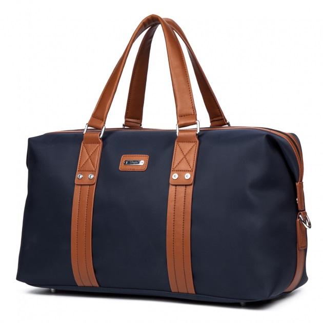 DANJUE ボストンバッグ ナイロン 大きめ 2wayトートバッグ かばん カジュアルバッグ ファスナー 旅行 スポーツ 大容量 軽量 ネイビー/ブラック 送料無料
