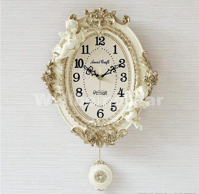 ゴールド エンジェルオーバル振り子時計w 驚きの値段 壁掛け時計 掛け時計 インテリア 家具 時計 振り子時計 ☆国内最安値に挑戦☆