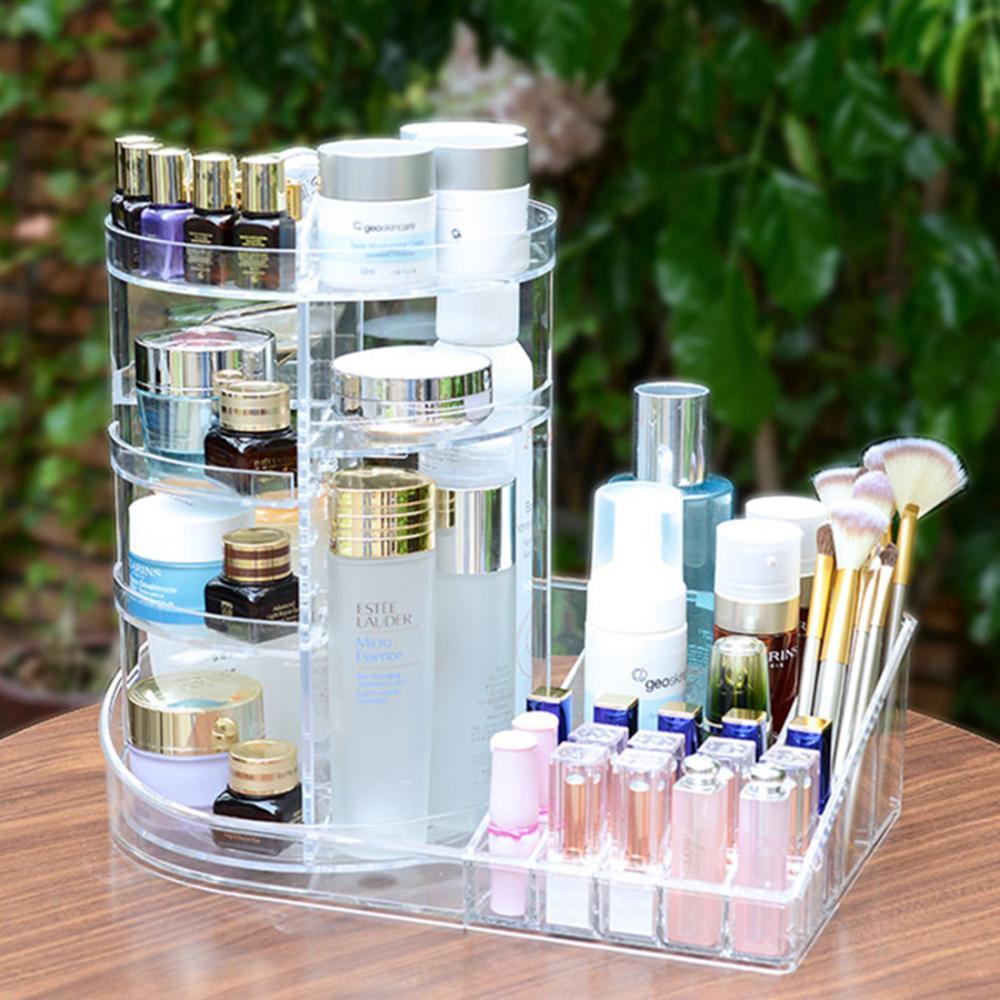 新型360度回転式化粧品収納ボックス 在庫あり 推奨 調整式メイクアップオーガナイザー 化粧ブラシ収納