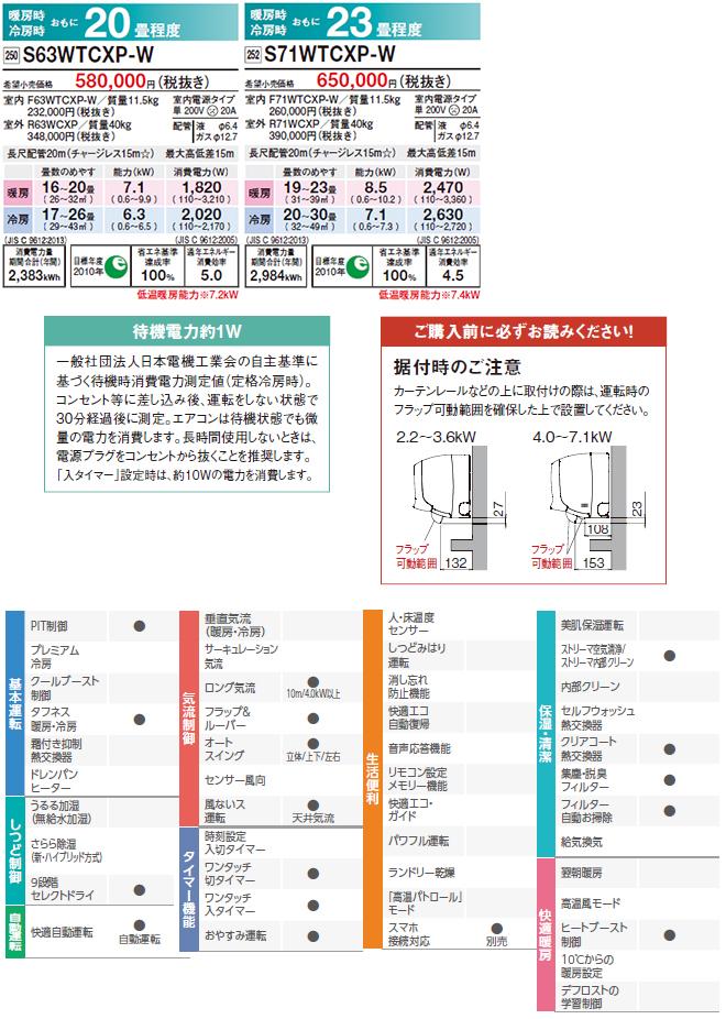 [S40WTCXP-W] ダイキン ルームエアコン CXシリーズ 冷房/暖房:14畳程度 2019年モデル 単相200V・20A 室内電源タイプ ホワイト
