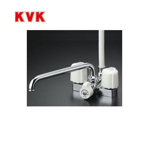 【最大2000円クーポン有】[KF12E]KVK 浴室水栓 シャワー水栓 2ハンドルシャワー デッキ形(台付き) 取付ピッチ100mm エコこま(快適節水) 蛇口 【送料無料】 デッキタイプ おしゃれ