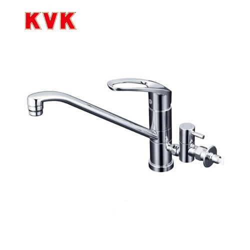 [KM5041CTTU]KVK キッチン水栓 流し台用シングルレバー式混合栓 回転分岐止水栓付 ワンホールタイプ 【送料無料】 おしゃれ