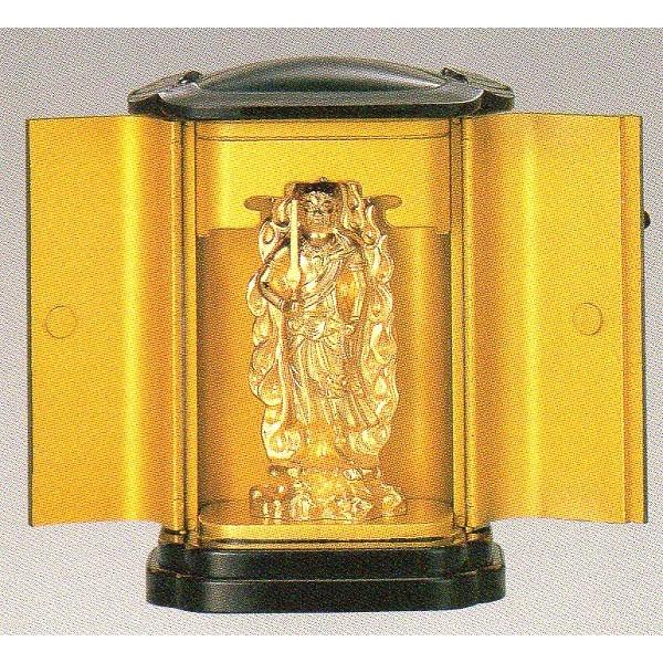 仏像 不動明王 純金メッキ 厨子入 高さ10.3cm Z35-6 【送料無料】