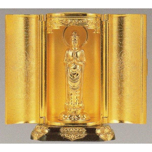 仏像 聖観音菩薩 純金メッキ 厨子入り 厨子寸法 高さ9.7cm z4-5 【送料無料】